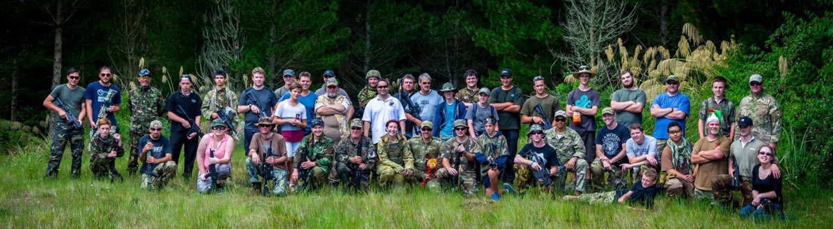 TAC (Tauranga Airsoft Club) players at a TECT Park event